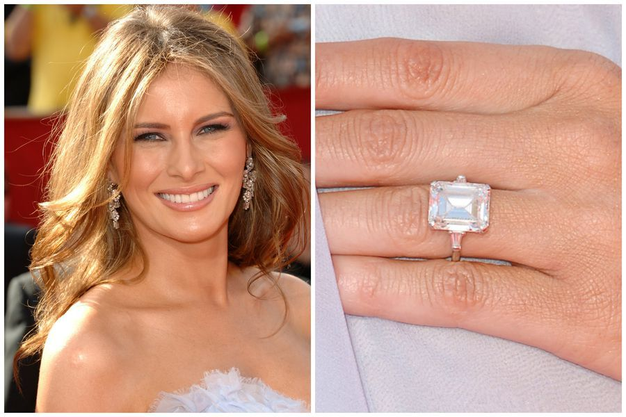 Melania Trump S Engagement Ring Is A Vintage Diamond Statement Ring Set In White Melania Trump Wedding Ring Engagement Celebration Celebrity Engagement Rings