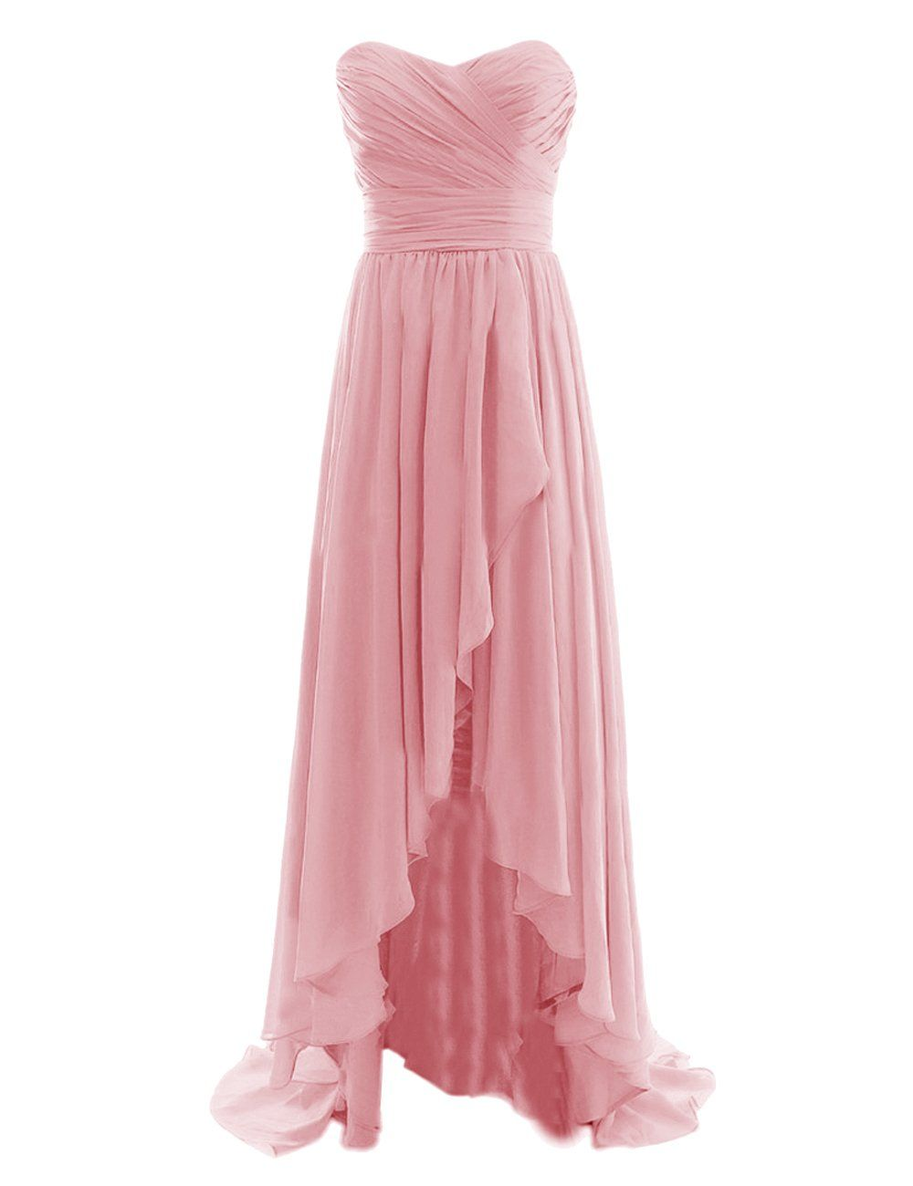 Diyouth Long High Low Bridesmaid Dresses Sweetheart Formal Evening ...