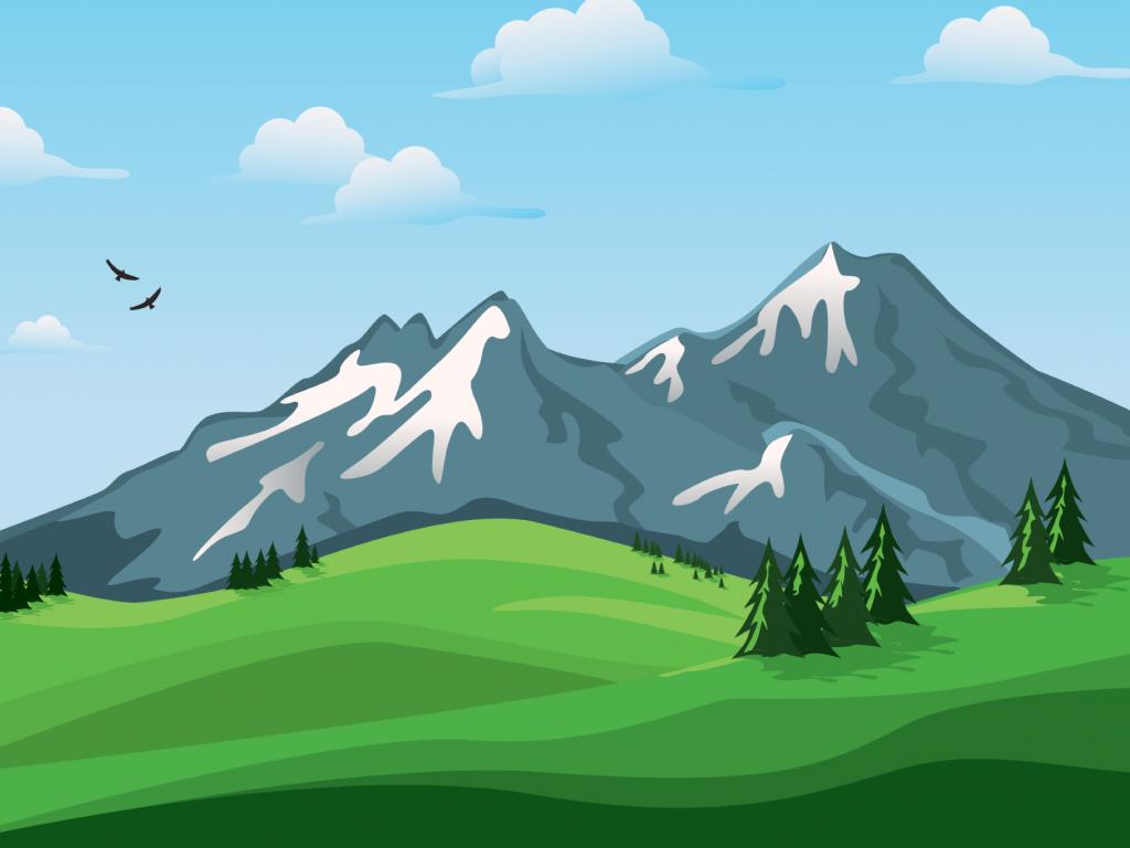 Landscape Mountains Nature Vector Lanskap Ilustrasi Vektor Gambar