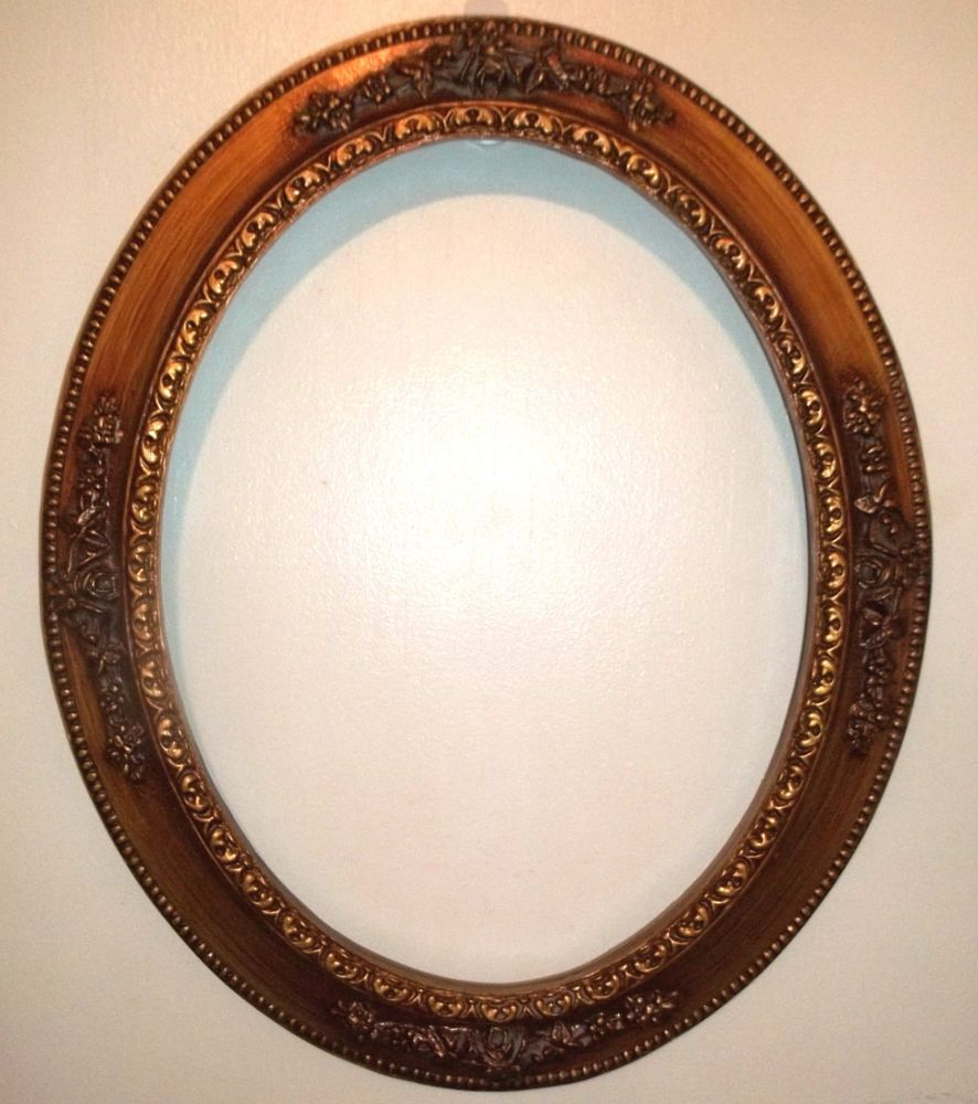 RICH WARM COLOR VINTAGE oval open picture frame with roses 14\