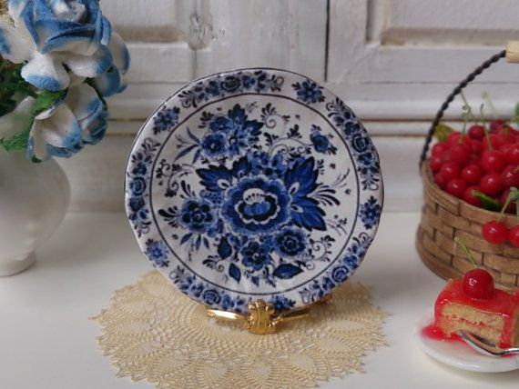Blue Delft Flowers Dollhouse Plate