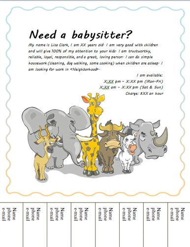 BabysittingFlyerWithAnimals  Templates    Babysitting
