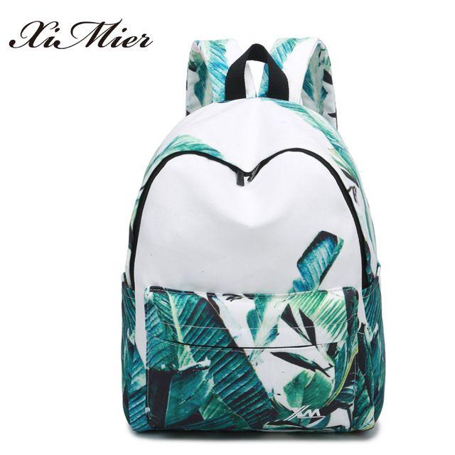 033f5c5144d7 Мода печать женщины рюкзак красивые листья большой великолепный  многофункциональный женский путешествия холст рюкзаки школьные сумки для  девочек