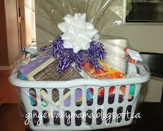 Practical Bridal Shower Gift - Basket with cleaning supplies tied with bow and poem