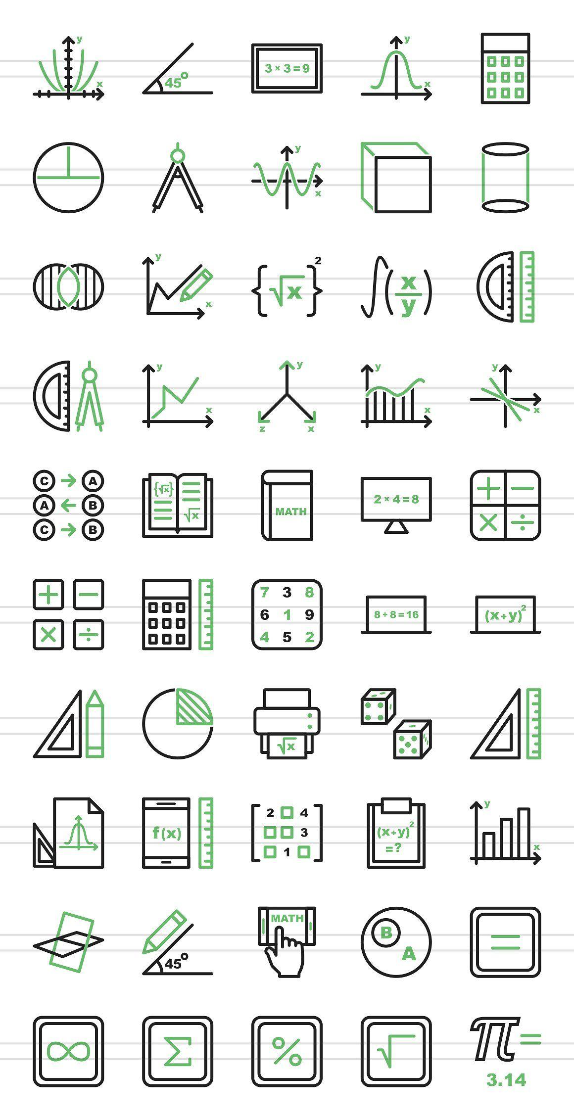 50 Math Symbols Green Black Icons Math Drawing Math Logo Math Design