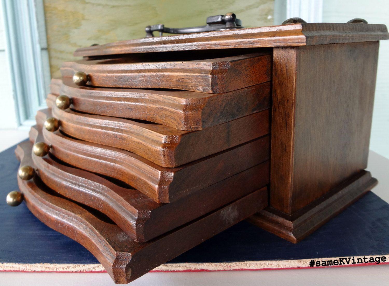 Vintage Wooden CoasterTray Combination Box Set (With