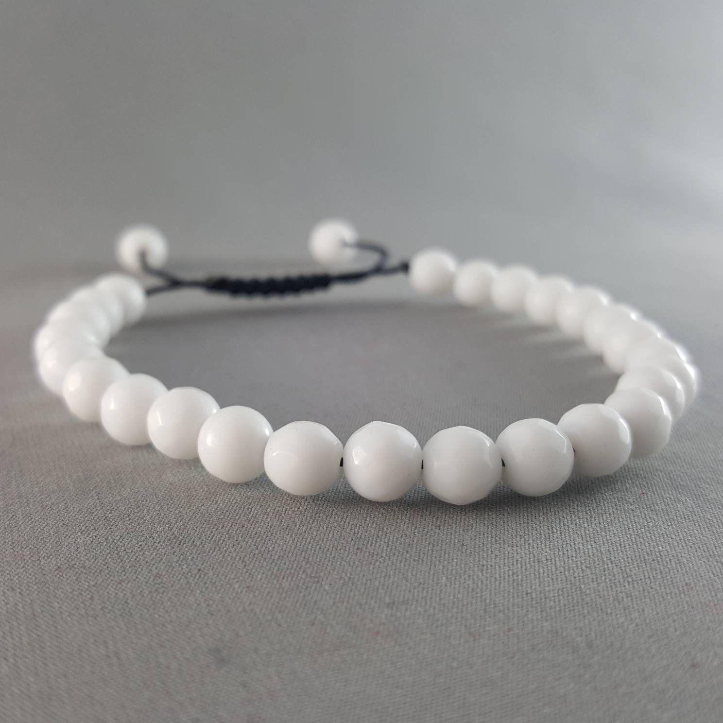 White Alabaster Beaded Bracelet Adjustable Bracelet for Men Women's Present Gift Idea Stocking Stuffer Friendship Bracelet Handmade Jewe.