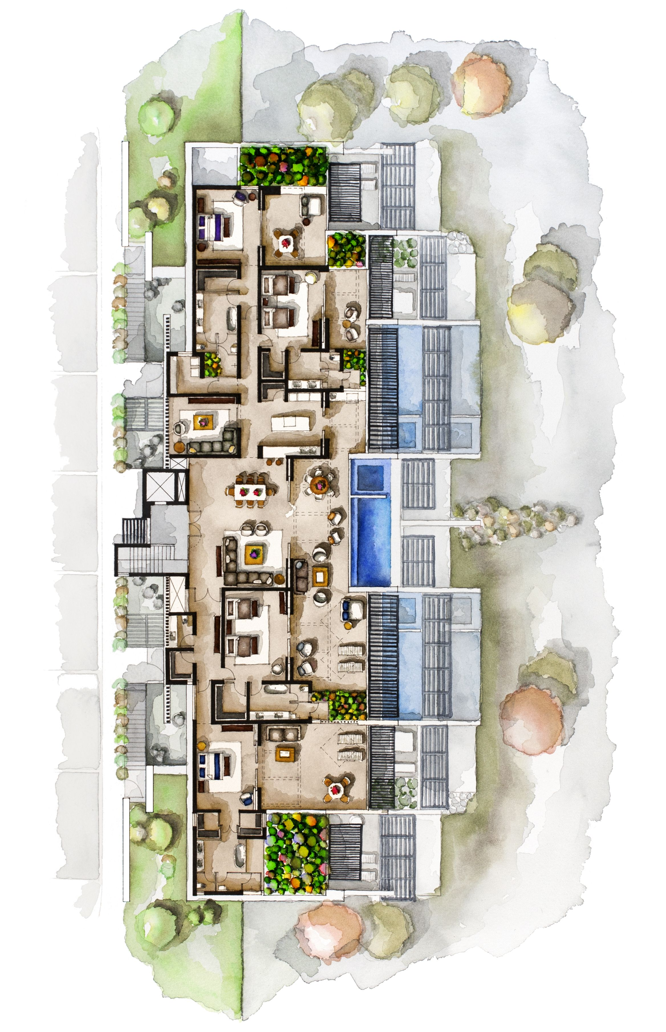 Real Estate Watercolor 2d Floor Plans Part 6 On Behance