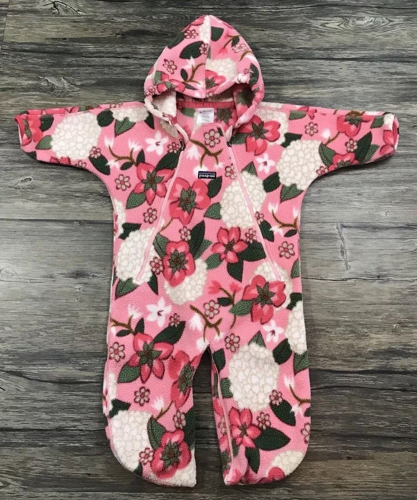 9a3322c33 Patagonia Bunting Floral Fleece Hooded One Piece Infant Girls Sz 12 Months  /   eBay