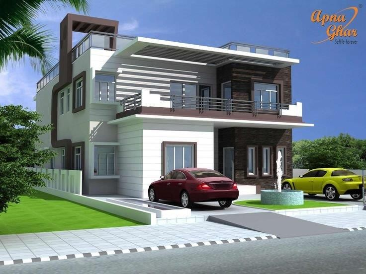 L shaped duplex house 736 552 residence for Modern duplex elevation