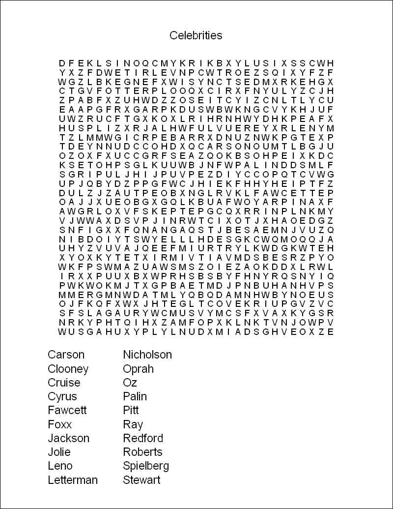 Free Printable Puzzles For Adults Word Search