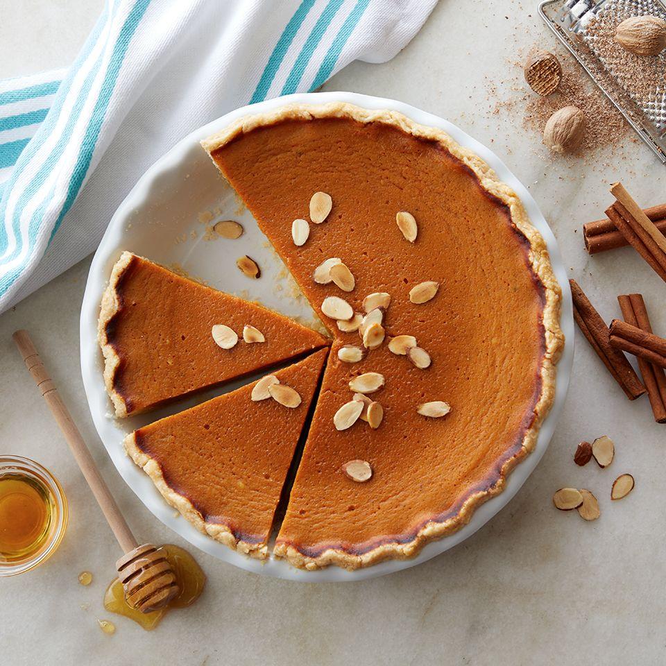 Dairy Free Honey Pumpkin Pie Recipe In 2020 Pumpkin Pie Almond Milk Recipes Nut Cups Recipe