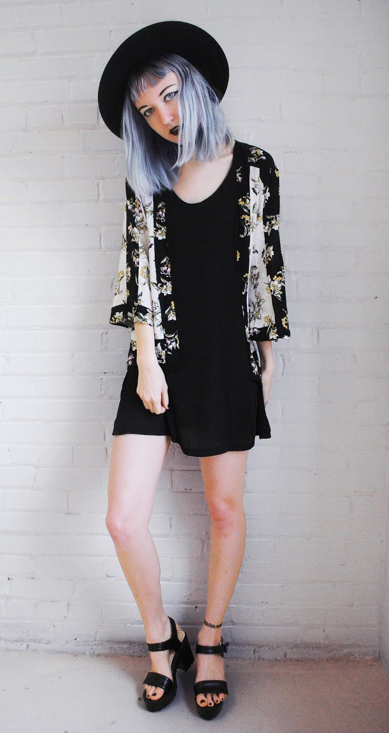 Goth outfit Floral Kimono and Black Cami Dress