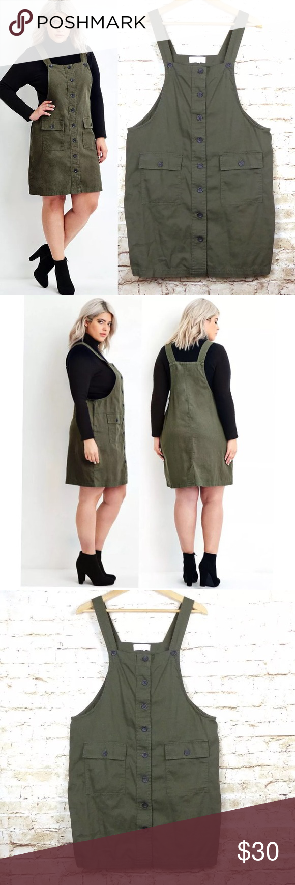 Forever plus size x green cargo overall dress pinafore dress