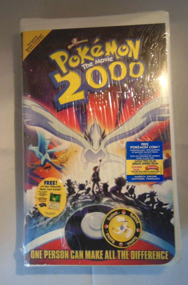 Pokemon The Movie 2000 Vhs With Coin Pikachu Card New Sealed