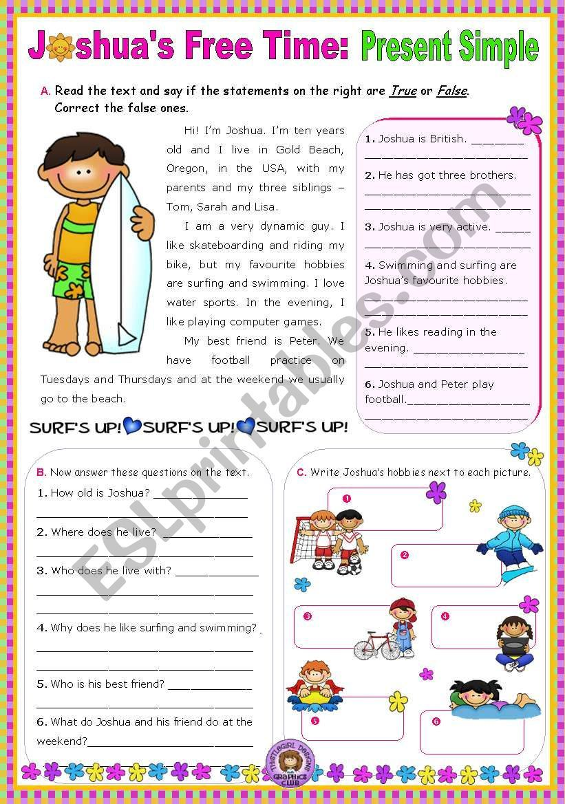 Joshua S Free Time Present Simple Reading Comprehension Leading To Writing Esl Works Reading Comprehension Comprehension Reading Comprehension Worksheets Reading activitiespresent simple and