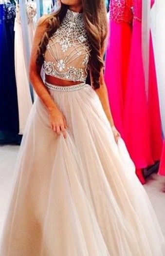 Custom Made Light Champagne 2 Pieces Long Prom Dress 42282ac2c084