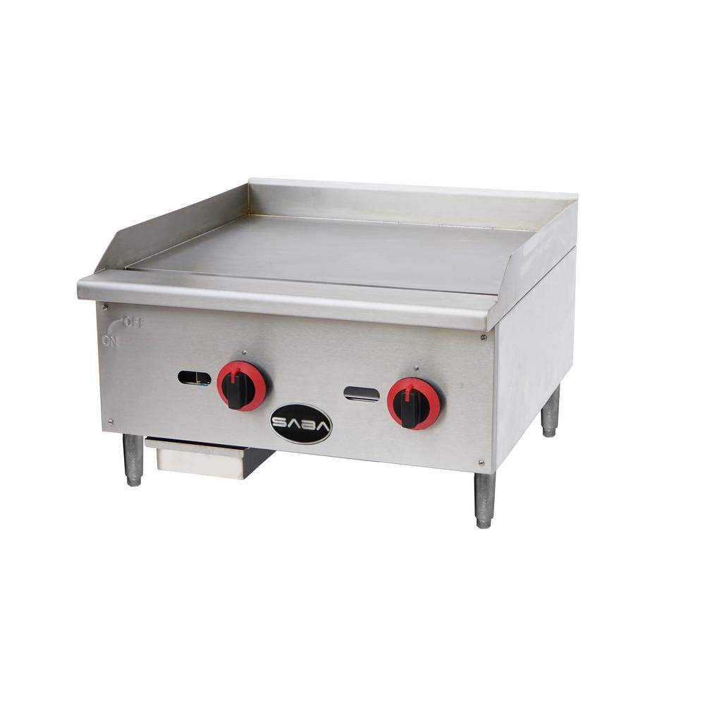 Saba 24 In Commercial Griddle Gas Cooktop In Stainless Steel With
