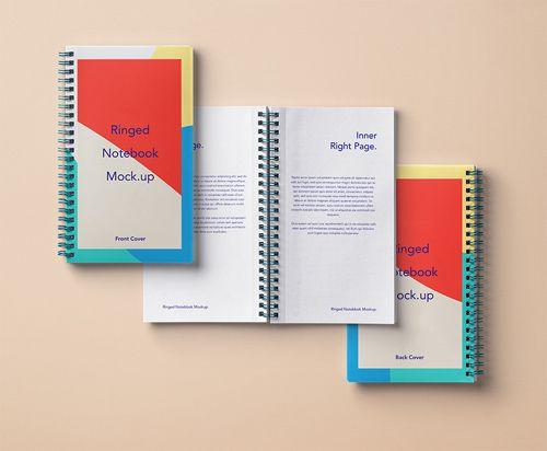 موك اب دفتر ملاحظات بالفوتوشوب Ringed Paper Notebook Mockup - notepad paper template