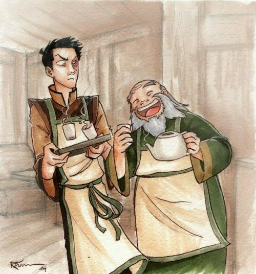 Iroh and Zuko with their tea shop I'm in tears
