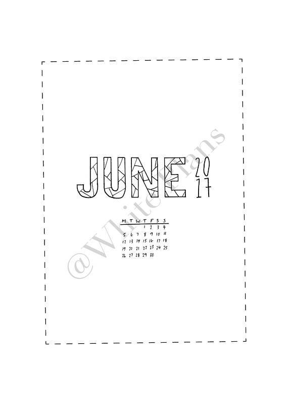 ONE DOLLAR June printable for journal or planner Bujo/Bullet