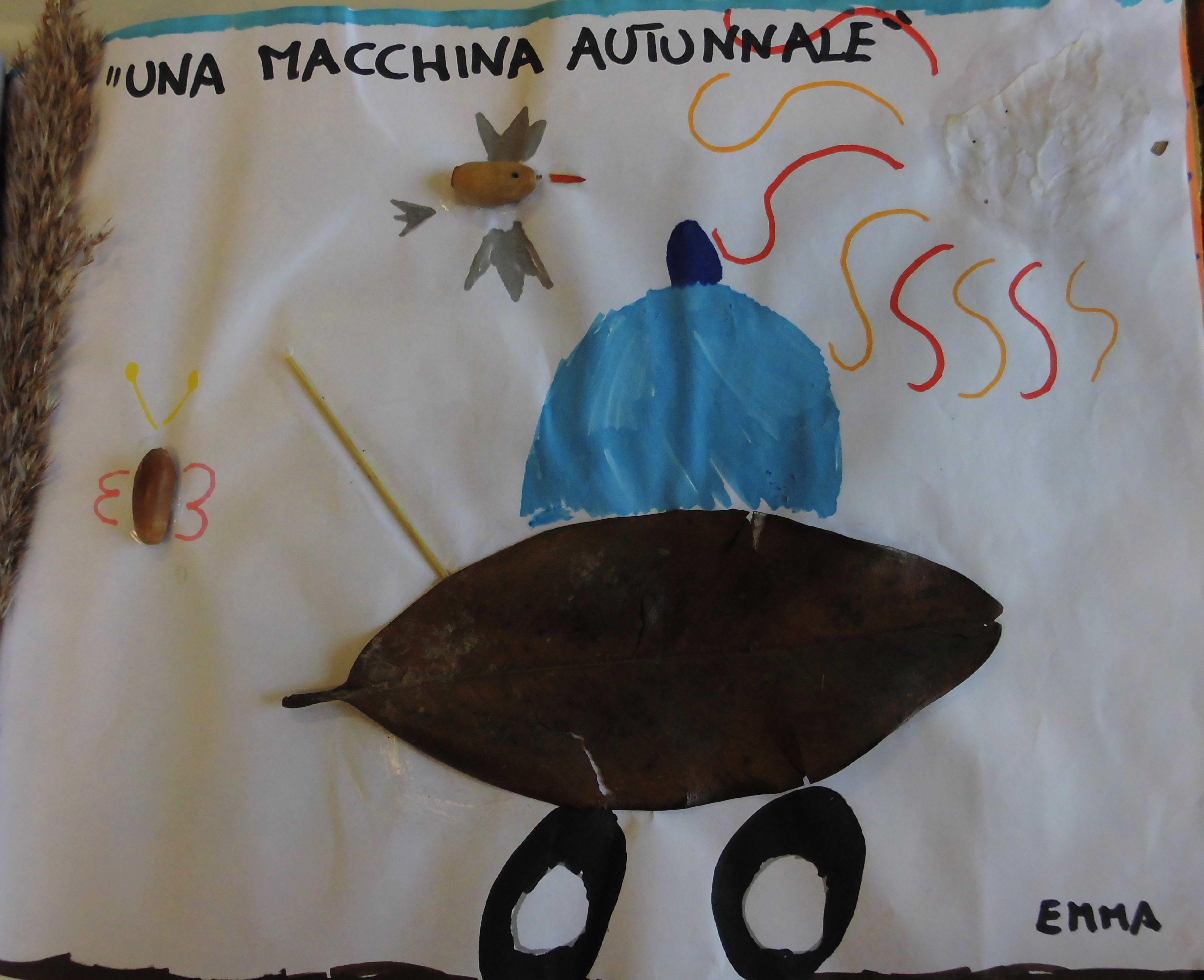 immagine di un disegno di un bimbo che rappresenta una macchina autunnale