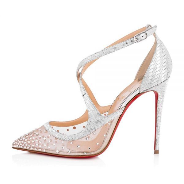 3b6fcb4c482f Christian Louboutin Women Shoes Twistissima Strass 100mm Heel-Silver ...