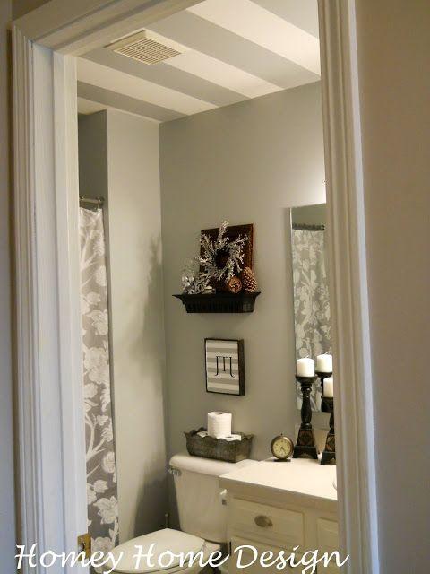 Homey Home Design: Mini Bathroom Redo with striped ceiling and all on houzz bathroom design, industrial chic bathroom design, hippie bathroom design, camo bathroom design, safari style bathroom design, vintage inspired bathroom design, asian inspired bathroom design,