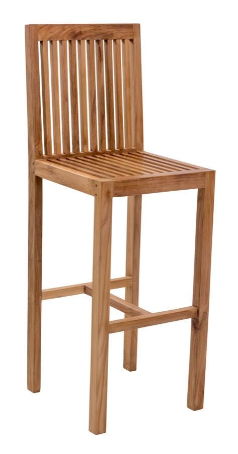 Trimaran Vive Natural Wood Slat Back Bar Chair