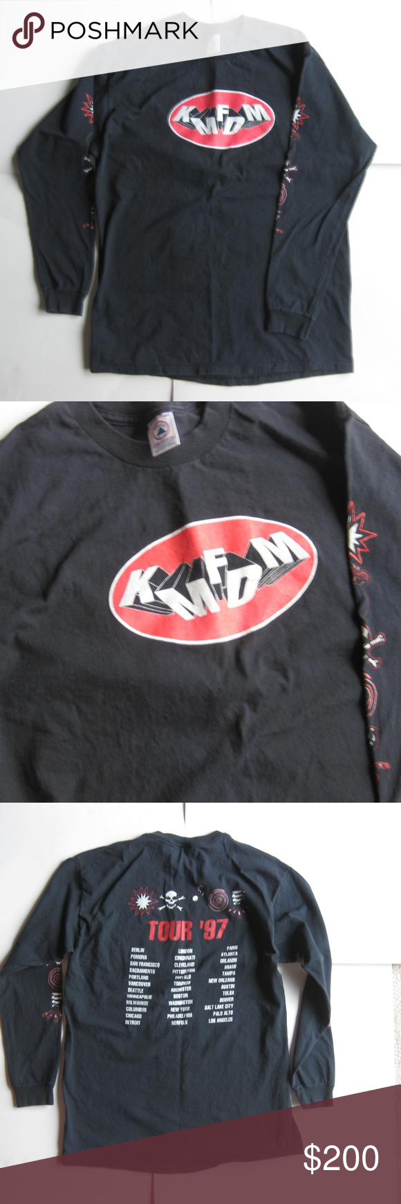 Vintage 90s Kmfdm 1997 Tour Long Sleeve T Shirt My Posh Picks