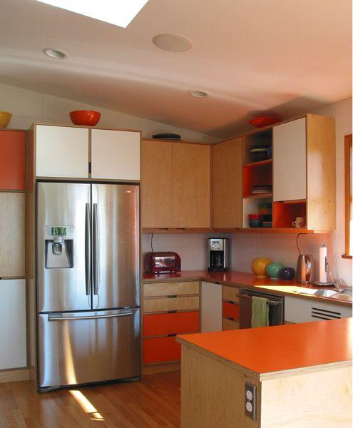 Mid Century Modern Kitchen Cabinets By Kerf Design Seattle Wa
