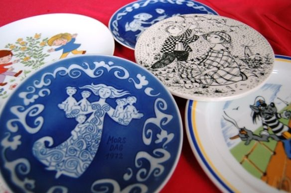 Blue Mother's Day and the black/ white Bjørn Wiinblad plates from the Copenhagen flea market