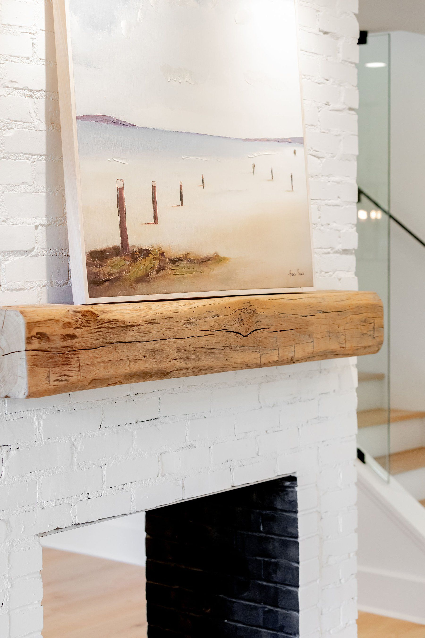 White Brick Fireplace With Real Timber Mantle White Brick Fireplace White Brick Brick Fireplace