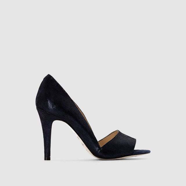 Escarpins bleu irisé cuir velours open-toe à talons JONAK | LaRedoute