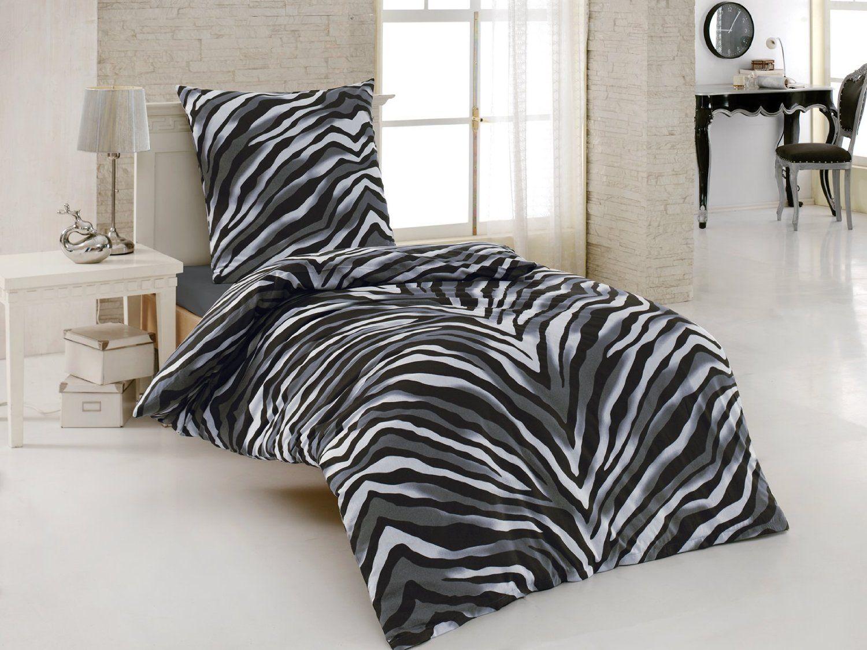 2 Tlg Renforce Baumwolle Bettwäsche 155x220 Cm Zebra Schwarz
