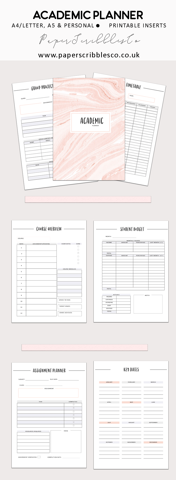 Student Planner College Planner Academic Planner Printable 2018