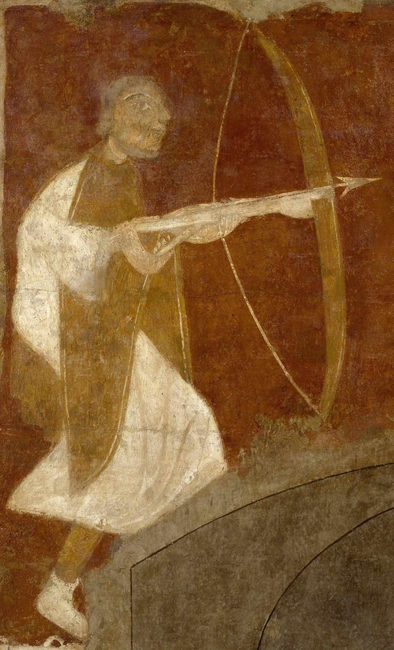 Fresco from the Church of San Baudelio de Berlanga, Soria, Spain - 12th century Archer hunting with Crossbow