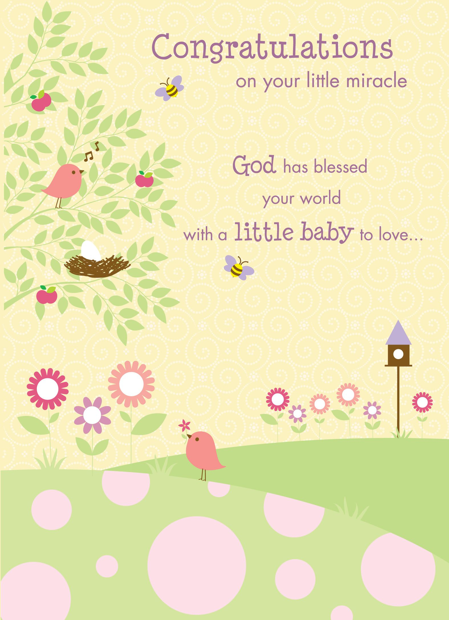 Congratulations on your new miracle. #Religious #BabyShower  #GreetingCardIdeas