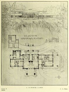 Design For A Summer Camp In The Adirondack Mountains Architectural Floor Plans Vintage House Plans Architecture Mapping