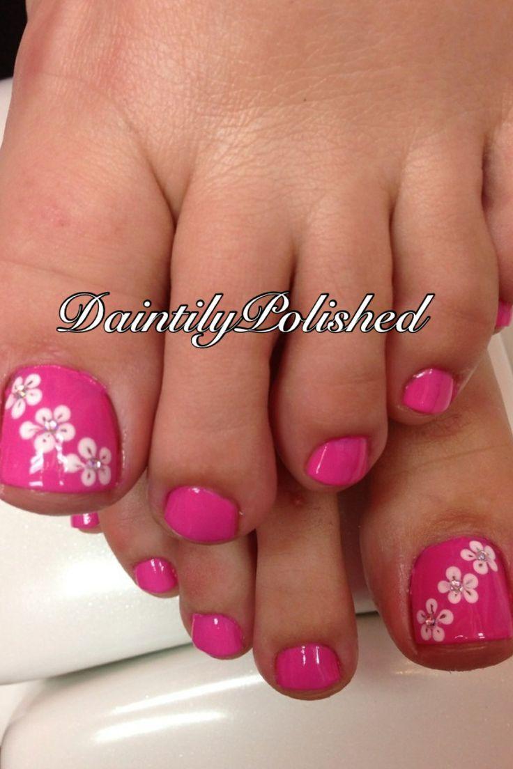Pink Hawaiian Flowers Nail Art Designs