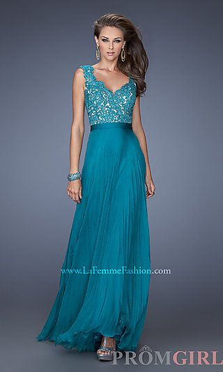 Long V-Neck Pleated Prom Dress by La Femme at PromGirl.com, in