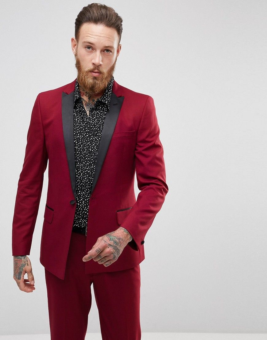 Asos Skinny Tuxedo Suit Jacket In Ruby Red Red Mens Red Suit Red Suit Mens Skinny Fit Suits