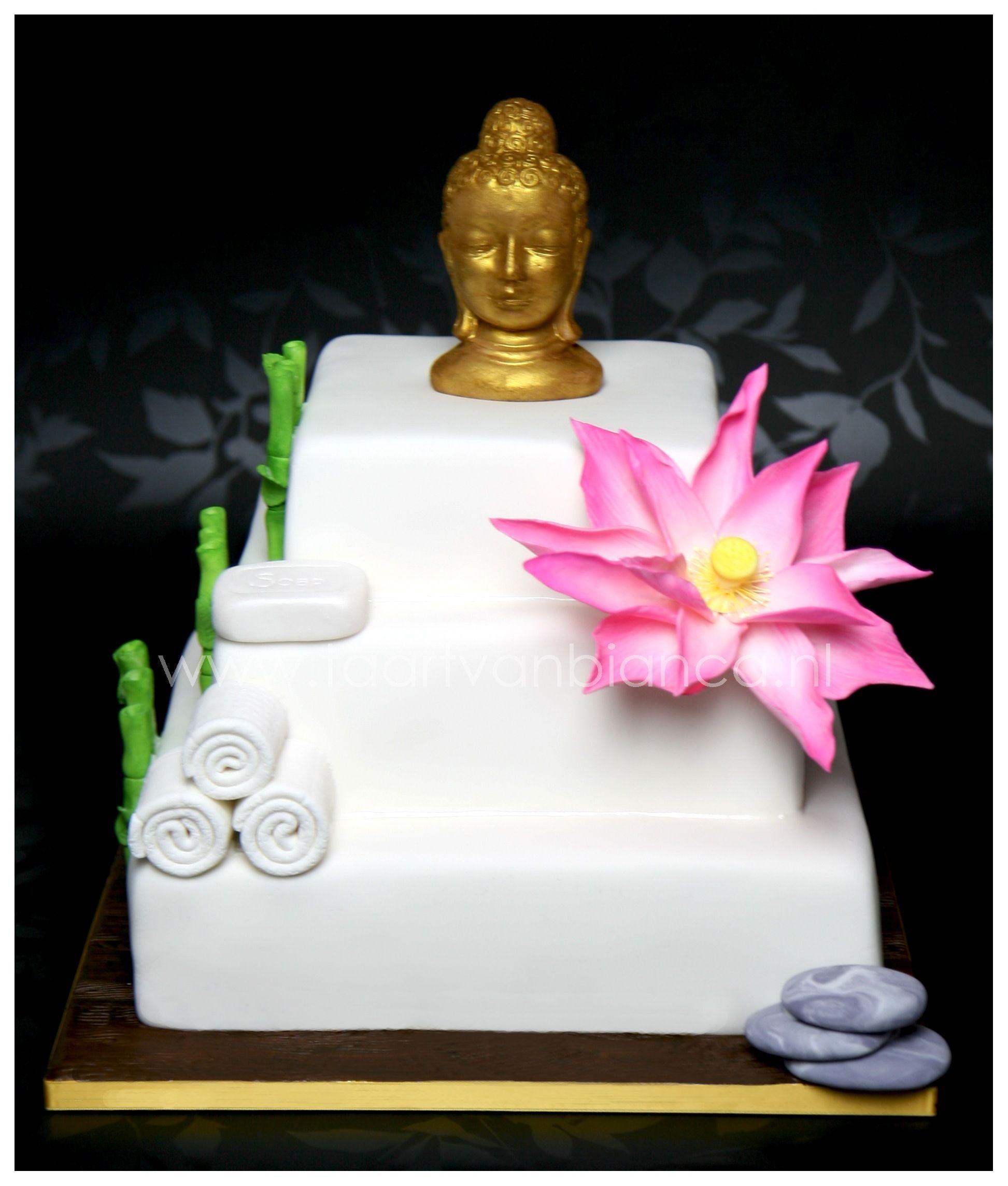 Zen cake with pink Lotus by taart van Bianca | Girls zen spa party ...