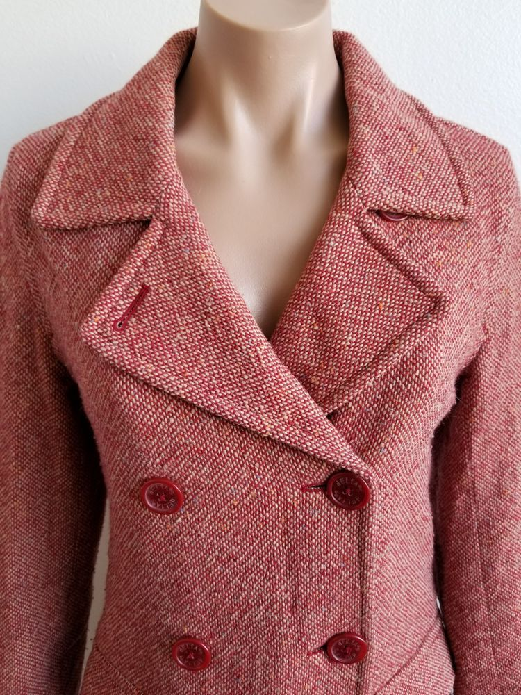 detailed pictures new list the cheapest Delia's Vintage Wool Tweed Double Breasted Red Jacket Size ...
