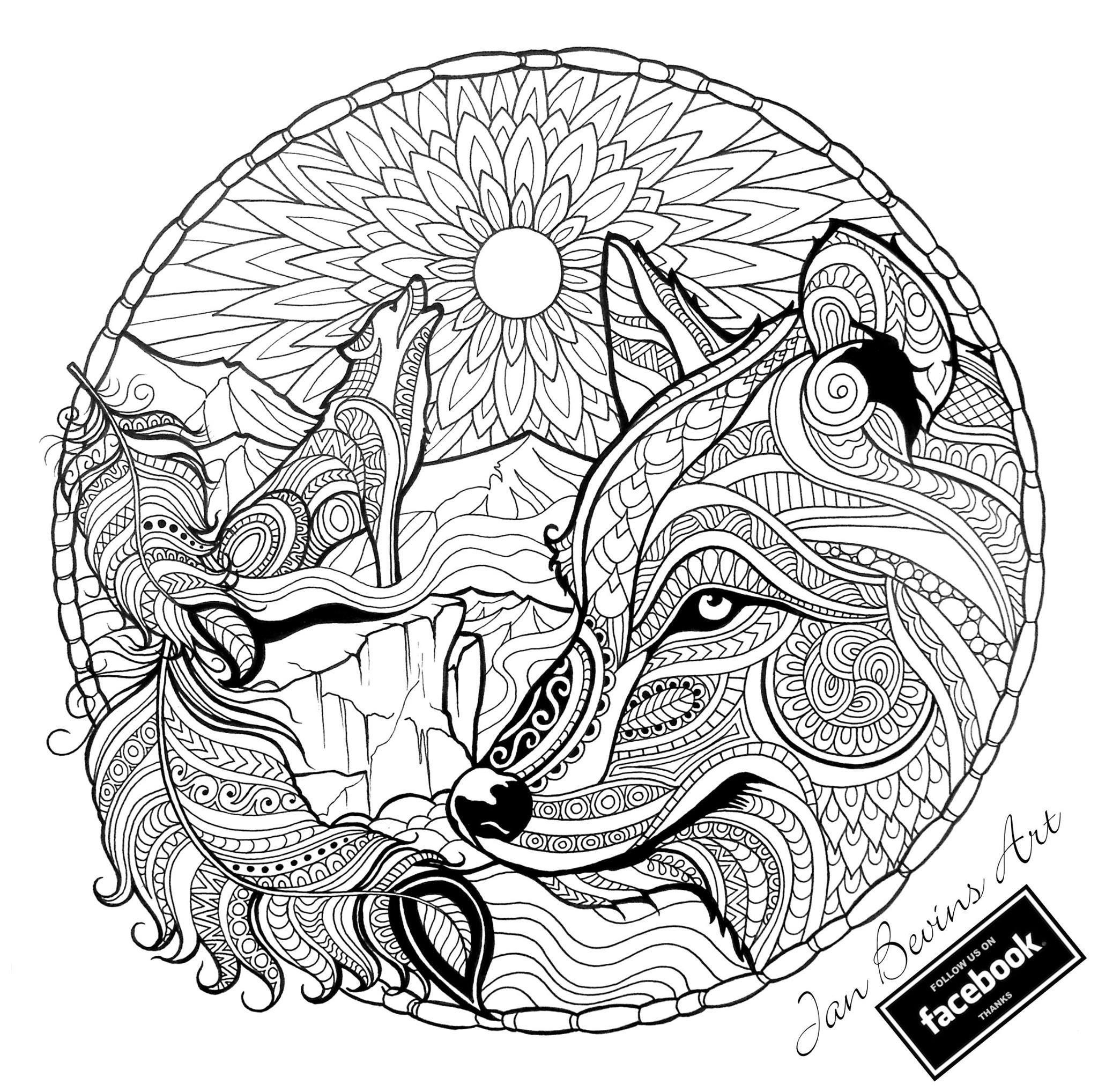 Kleurplaten Volwassenen Wolf.Native Wolf Coloring Mandala Kleurplaten Kleurplaten En