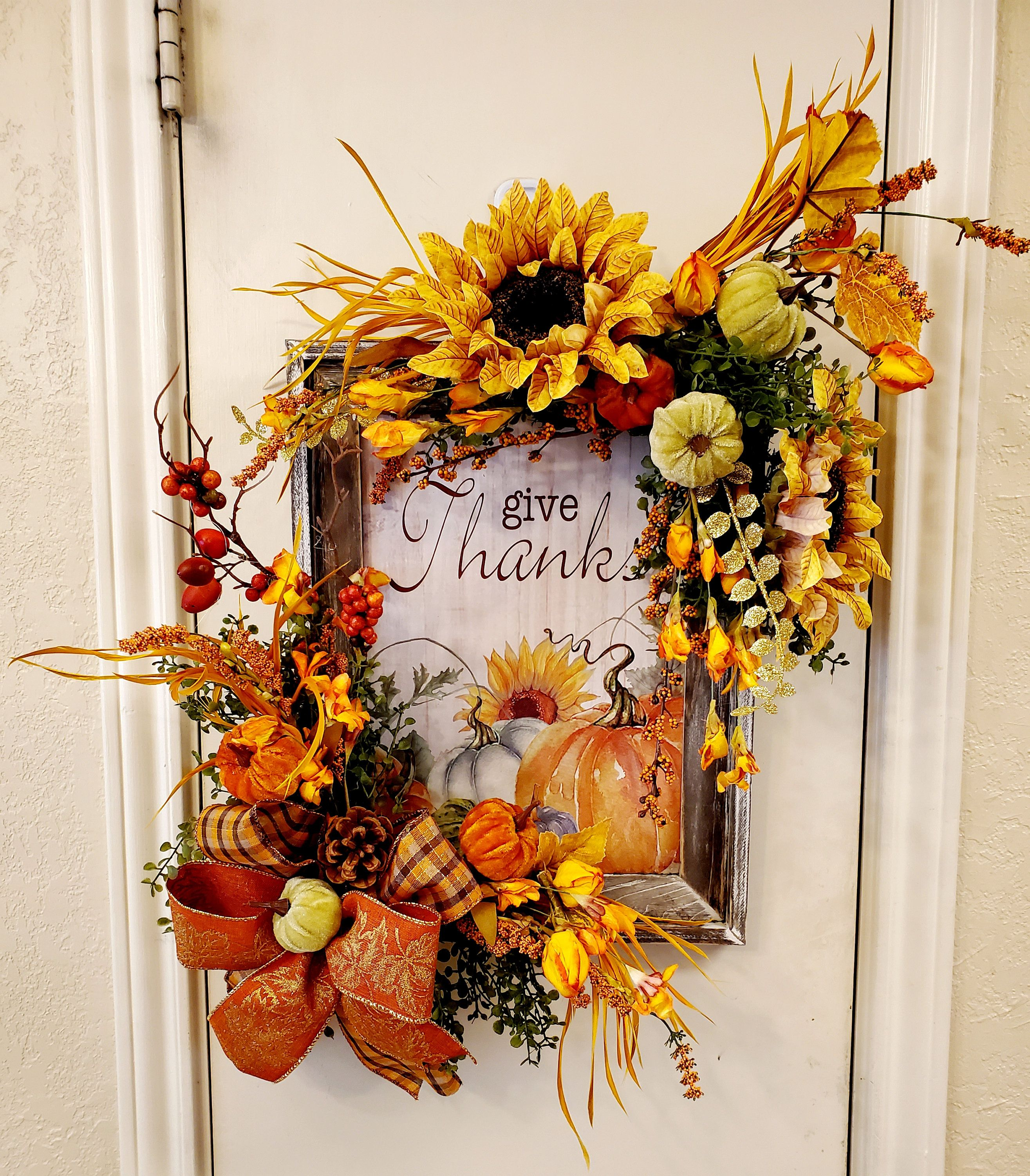 Give Thanks Frame Fall Wall Hanging Autumn Door Hanger Fall Decor Fall Wall Decor Give Thanks Wooden Sign Rustic Fall Door Door Hanger Fall Wall Decor Fall Decor Fall Door