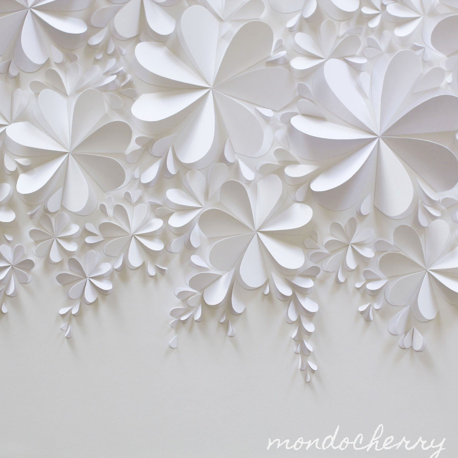A Small Bite Of Mondocherry White On White Paper Flowers