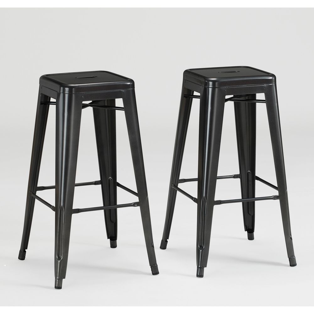 Tabouret 30 Inch Charcoal Grey Metal Bar Stools Set Of 2 Ping Great Deals On