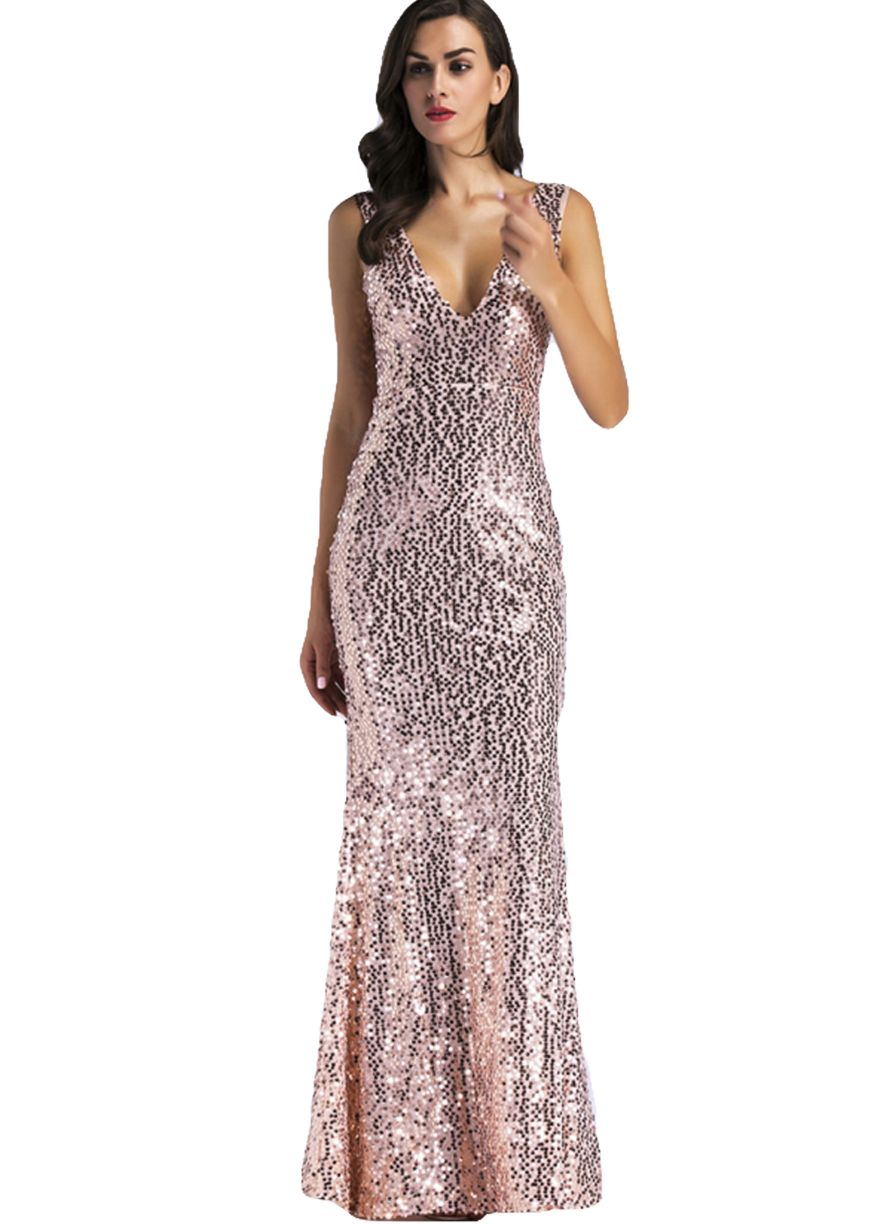 Gold sequins v neck party gownevening dressdressessexy lingeire