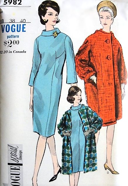5f53a91c9ea Early 60s FABULOUS Coat and Slim Dress Pattern VOGUE Special Design 5982  Fitted Slim Dress